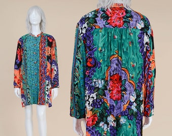 80s Abstract Floral Print Blouse | size L XL | Loose Button Down Kimono Jacket Boho Rayon Gauze Top | Carole Little Large 12 14