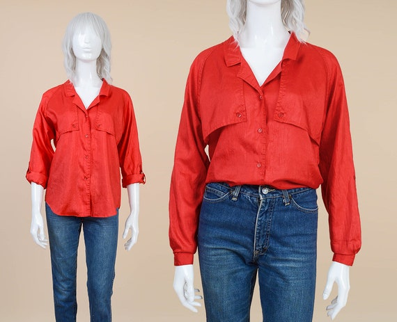 666db701 80s Diane Von Furstenberg Red Blouse size Medium DVF   Etsy