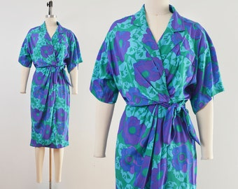 Vintage 80s Floral Wrap Dress   Silky Sarong Dress Blue Green Purple   size Small