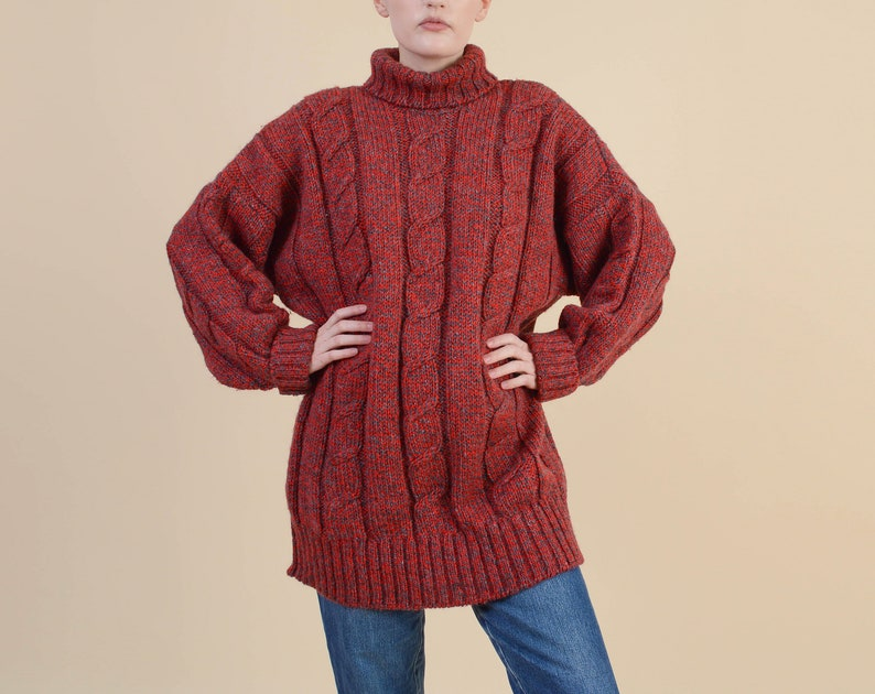 c90255311be Vintage 80s Oversized Turtleneck Sweater size M L Red and