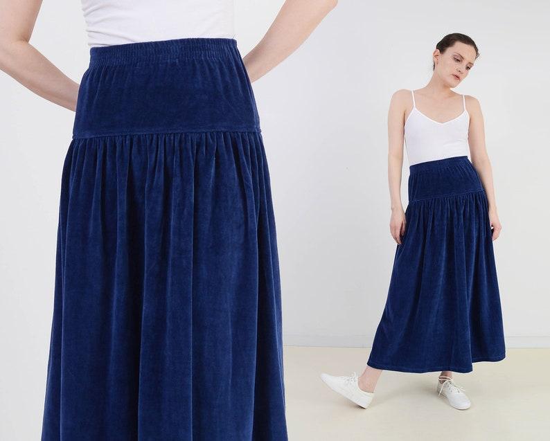 Vintage Navy Blue Velour Skirt  Stretchy Knit Elastic Waist image 0