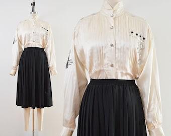 Vintage Ivory Silk Satin Blouse   Embellished Tuxedo Blouse   size S