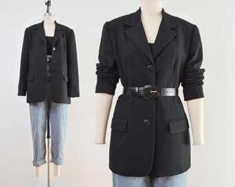 Black Wool Blazer | Minimal Vintage 90s Suit Jacket | size S M