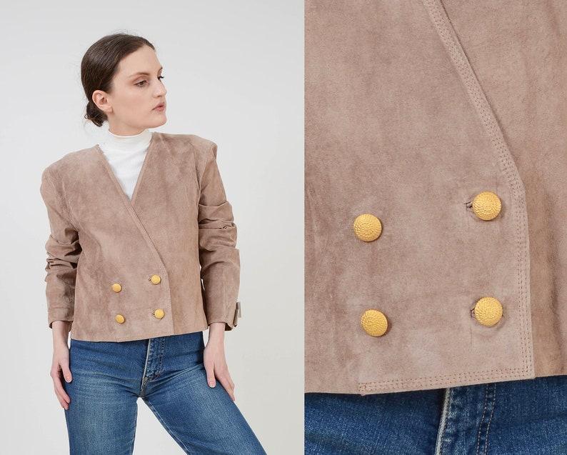 Vintage Light Brown Suede Jacket  Cropped Boxy Jacket  image 0