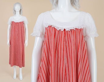 70s Liberty House Maxi Dress | size Medium M | Striped Cotton Tent Dress Red and White Eyelet Puff Sleeve Muu Muu Caftan | Princess Kaiulani