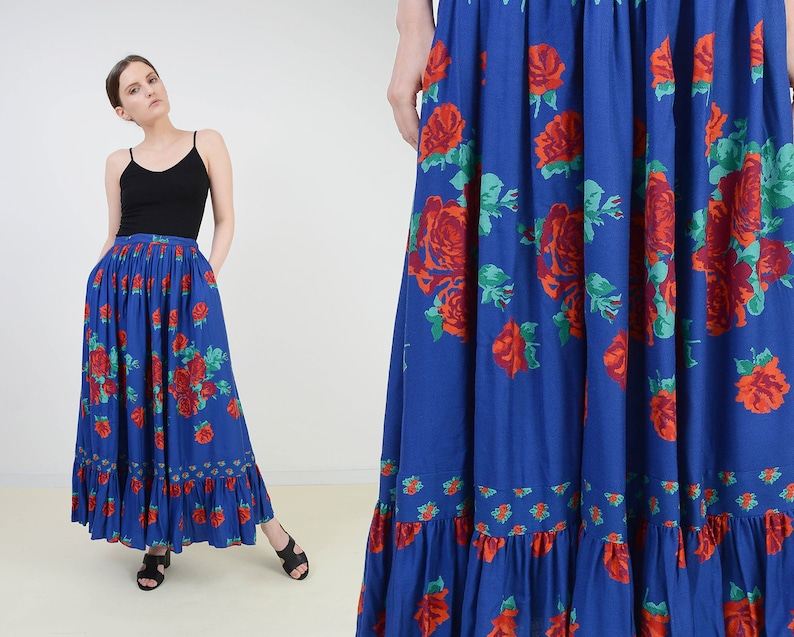 Vintage 80s Blue Floral Skirt  size Small  High Waist Full image 0