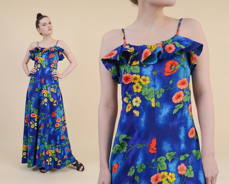 63d9991fd57f Vintage Floral Hawaiian Print Maxi Dress size XS S Ruffle | Etsy