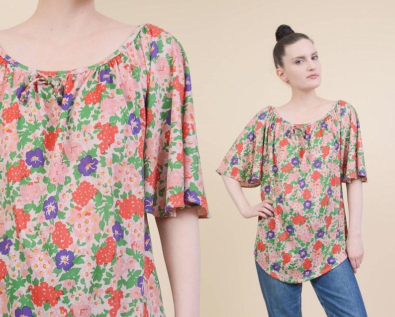 ec07af660f0 Vintage 70s Floral Blouse Short Flutter Sleeves Draped