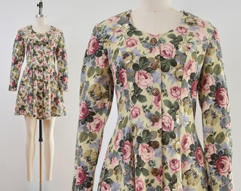Floral Cottagecore Dress | Ribbed Knit Mini Dress | 90s Grunge Button Front Dress | size S