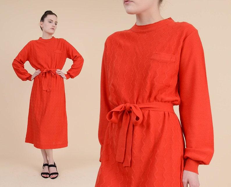 f22acda8605b Vintage 80s Red Zig Zag Sweater Dress Long Sleeve Acrylic