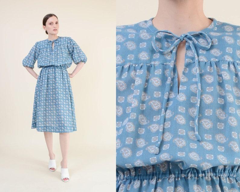 Vintage 70s Blue Paisley Dress  Semi Sheer Blouson Tie Neck image 0