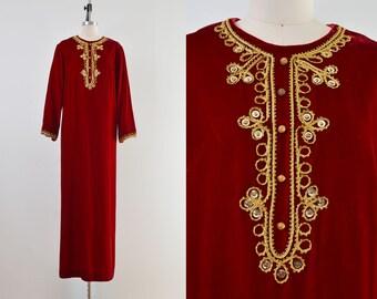 Dark Red Velvet Caftan | 60s 70s Metallic Gold Embellished Vintage Maxi Dress with Pockets | size L XL