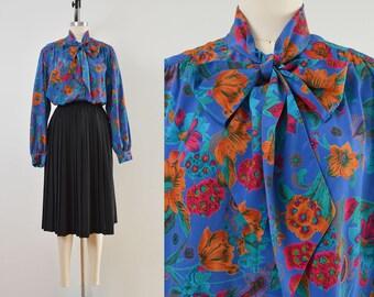 Vintage 80s Blue Floral Paisley Blouse | Pussy Bow Neck Tie Blouse | size L XL