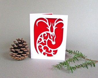 Reindeer Spirit Holiday Card Christmas Solstice Red and White Paper Art