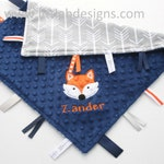 Navy Minky with Gray Arrows Minky Tag Blanket  Ribbon Lovey - Personalized with Fox Applique