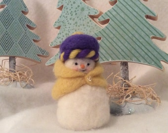 Cute Little Snow Girl Needle Felted Wool Winter Decoration