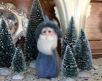 Winter Blue Gnome With A Feather In His Cap Needle Felt Wool Home Decor