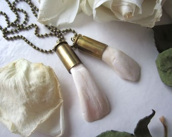 Buffalo Tooth & Bullet Pendant - Wild Buffalo Tooth Found Object Oddity Set into Empty Bullet Casing - Bullet Jewelry