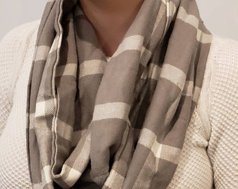 Shades of Gray Plaid Flannel Infinity Scarf