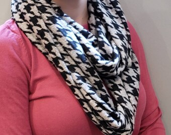 Super Soft Black and Gray Houndstooth Infinity Scarf