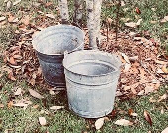 Galvanized Buckets Etsy
