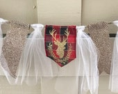 Gold glitter deer and red...
