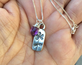 Flower Pendant, Amethyst, Dagger Amethyst, Mother's Necklace, Real Gemstone Charms, Natures Spendour, Sterling Silver Pendant