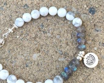 Labradorite Bracelet, Howlite Bracelet, Lotus Flower, Yoga Bracelet, Bohemian, Stacking Bracelet, Natures Splendour, Unisex Bracelet