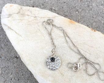 Silver Hammered Pendant, Black Spinel, Gemstone Necklace, Natures Splendour Jewelry, Minimalist Necklace, Silver Disc Pendant