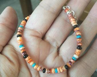 Spiny Oyster, Orange Bracelet, Stacking Bracelet, Turquoise, Black Jade, Unisex Bracelet, Natures Splendour Jewelry, Stacking Bracelet