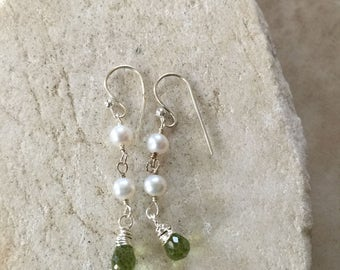 Peridot Pearl Earrings Modern Earrings Tradition Gemstone Earrings Green Earrings