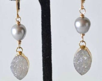 Silver Pearl Earrings, Gold Drusy Quartz , Gold Filled Wire, Dangle Earrings, Luxe Earrings