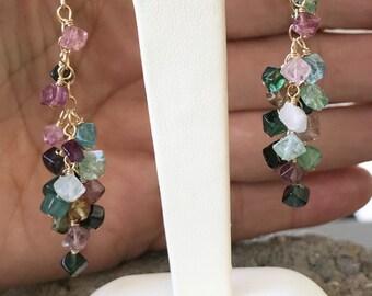 Tourmaline Earrings, Chandelier Earrings, Multicolored Colored Gemstones, Waterfall Earrings, Pink Tourmaline, Natures Splendour