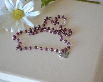 Rhodolite Garnet Necklace Rosary Style Necklace Sterling Silver Heart Minimalist Necklace January Birthstone Natures Splendour