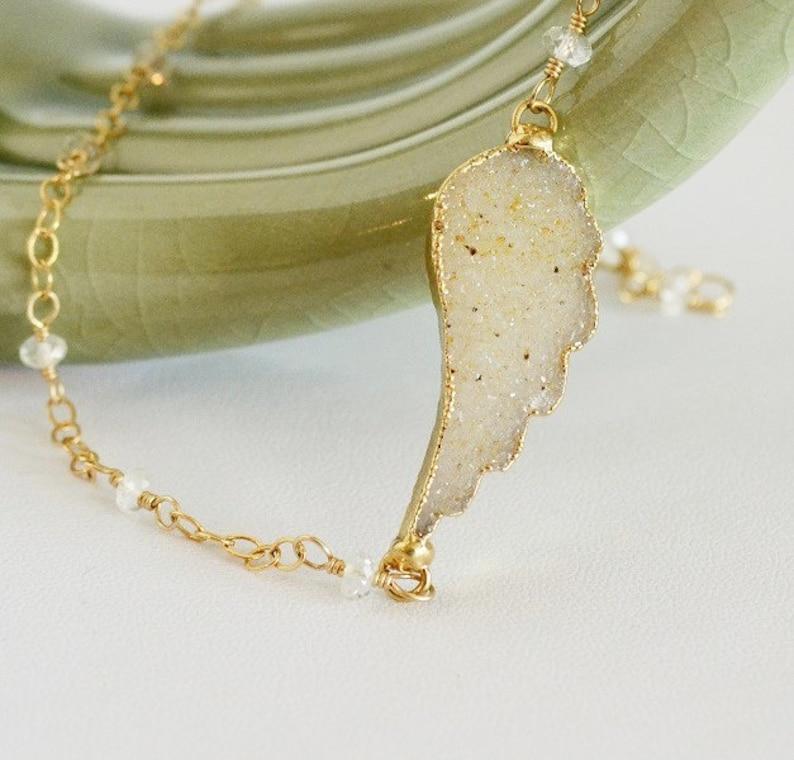 Feather Necklace Trendy Necklace Drusy Pendant Crystal Quartz Necklace Angel Wing Drusy Necklace Natures Splendour