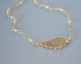 Crystal Quartz Drusy Angel Wing Pendant/Necklace - Luxe Drusy Necklace - 14 KT Goldfilled Chain - Raw Crystal Quartz