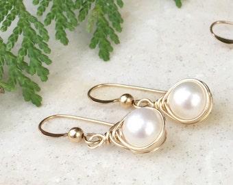 Pearl Earrings, Wedding Earrings, Herringbone Wrapped, Natures Splendour, Round Pearls, Minimalist Earrings, Drop Earrings, Dangle Earrings