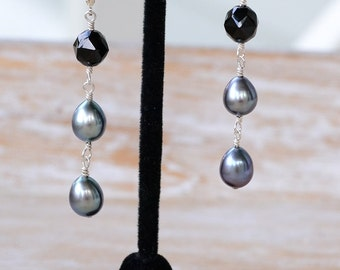 Black Gemstone Earrings, Black Spinel Dangles, Peacock Color Pearls, Black Pearl Earrings, Real Gemstones