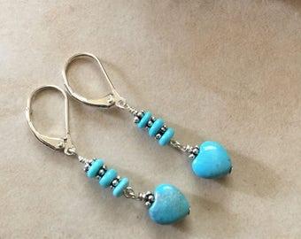 Turquoise Heart Shape Dangle Earrings Real Turquoise
