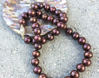Chocolate Pearls, Brown Pearls, Hand Knotted Necklace, Silk Thread, Natures Splendour, Cultured Freshwater Pearls, 10mm Pearls