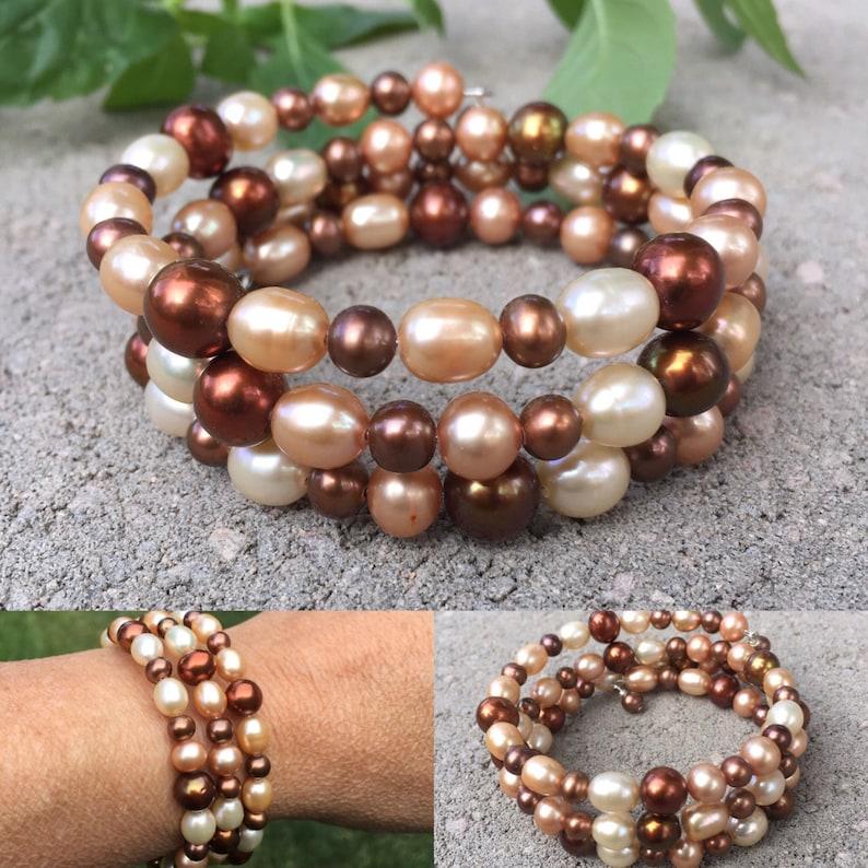 Cuff Bracelet Pearl Bracelet Memory Wire Bracelet Brown Pearls Mothers Gift Natures Splendour