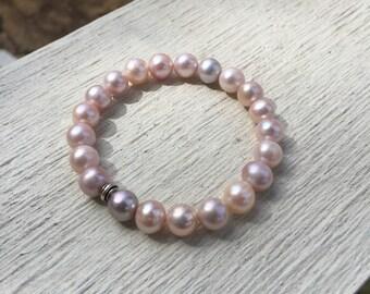 Natural Pink Color Cultured Freshwater Pearl Bracelet  Thailand Hill Tribe Silver  Stretch Bracelet