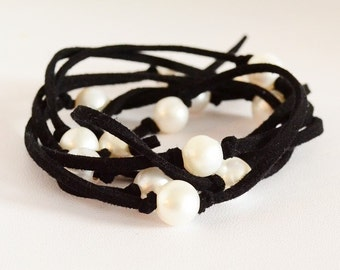 Leather Suede - Long Cultured Freshwater Pearl Necklace - Leather Pearl Bracelet - Wrap Around Bracelet