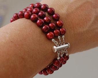 Cuff Bracelet, Pearl Bracelet, Red Pearl Bracelet, Cultured Freshwater Pearl Bracelet,  3 Strand Bracelet, Natures Splendour, June Birthday