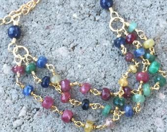 Ruby Bracelet, Sapphire Bracelet, Emerald Bracelet, Natures Splendour, Colorful Bracelet, Precious Gemstone Bracelet, Three Strand Bracelet