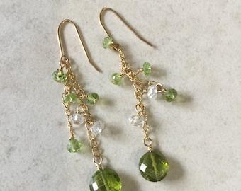 Last pair  Peridot White Topaz Dangle Earrings August Birthstone Greenery Wedding Natures Splendour