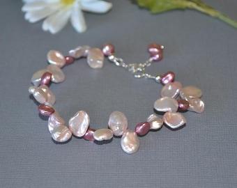 Pink Cultured Freshwater Keshi Pearl Bracelet Dancing Keshi Pearls Lustrous Pink Pearls Pantine 2016 Color