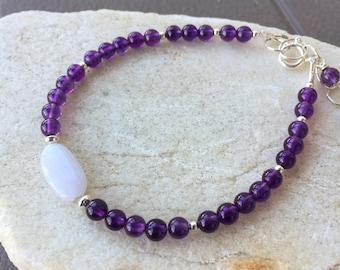 Lavender Jade Amethyst Bead Gems with Sterling Silver Bracelet Nature's Splendour February Birthstone