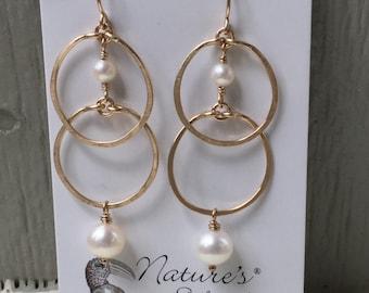 Worn On Tv, Jane The Virgin, Hoop Earrings, Gold Filled, Pearl Hoops, Natures Splendour Jewelry, As Seen On Tv, Celebrity Earrings,