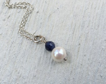 Sapphire Necklace, Pearl Solitaire Necklace, Blue and White Pendant, Sapphire and Pearl Necklace, Natures Splendour Jewelry, September